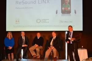 Pictured from left to right: Laurel Christensen, Chief Audiology Officer, GN ReSound, Morten Hansen, Vice President of Partnerships and Connectivity, GN ReSound, Dick Loizeaux, Wearer of ReSound LiNX, Dr. Ken Smith, Wearer and Audiologist based in the bay area, Lars Viksmoen, CEO, GN ReSound.