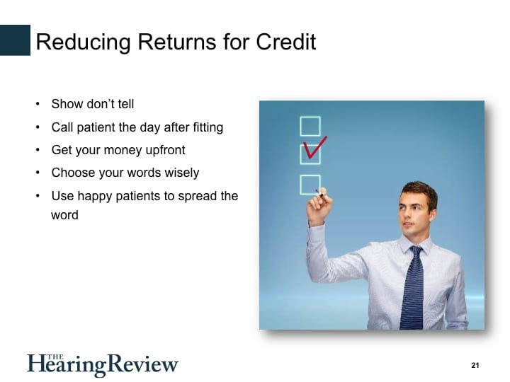 20-minute Webinar: Reducing Returns for Credit by Gyl Kasewurm, AuD
