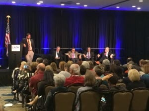 (L to r) Amyn Amlani, Barry Freeman, Brian Taylor, Peter Marincovich, and Ian Windmill addressed how audiologists can  adapt to disruptive technology by embracing change.