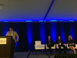 """Amyn Amlani, D'Anne Rudden, Jason Aird, and Greg Frazer presented business building ideas in the session, """"Recipe for Success: Trends, Takeaways, and Tools to Grow Your Practice Revenue""""."""