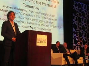 A special presentation on disruptive innovation in hearing healthcare featured viewpoints from Jacque Kinsbergen of Jacoti, moderator Michael Cohen, Carl LeBel of Otonomy, Mead Killion of Etymotic Research, and Allen Ryan of the University of California-San Diego.
