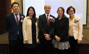 (l to r) Nelson Wong, Director of Clinical Service, Otic; Rosanna Tong, Audiologist, Otic; Douglas L. Beck, AuD, Director of Academic Sciences, Oticon Inc; Mary McVannan Beck, BC-HIS; Joanna Ng, Managing Director, Otic.