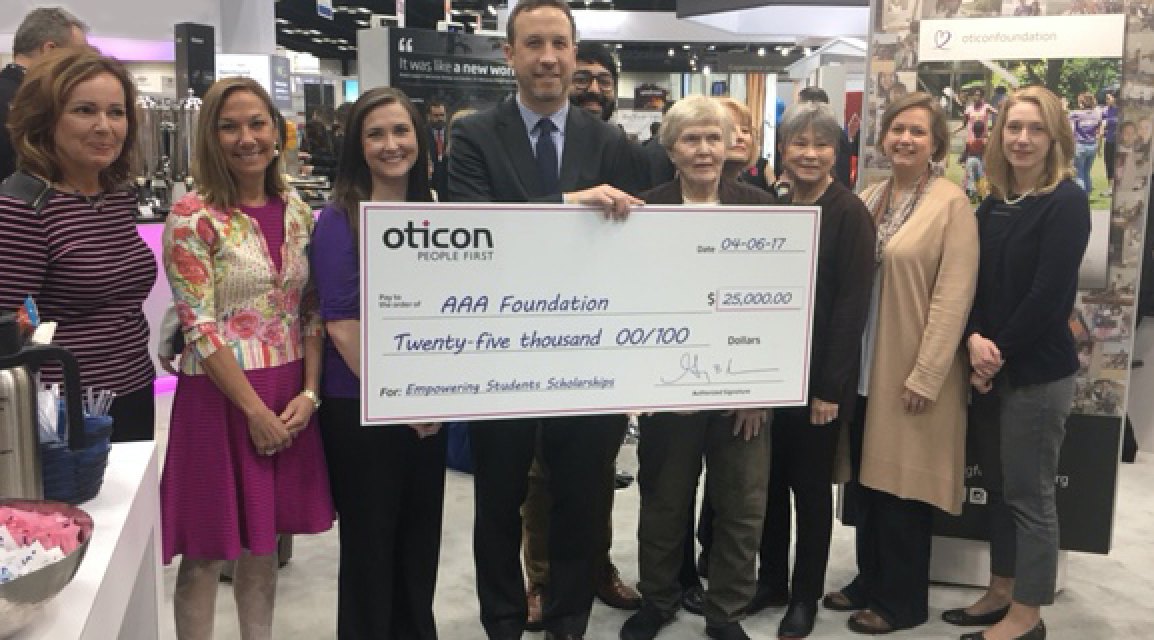 Oticon Presents $25,000 Donation to AAAF Scholarship Fund