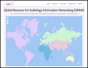 The Global Resource for Audiology Information Networking (GRAIN) website, globalaudiology.org, features an interactive map.