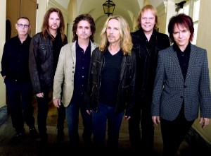 """MACON, GA - OCTOBER 04:  Rock Group STYX L/R: Chuck Panozzo, Ricky Phillips, Todd Sucherman, Tommy Shaw, James """"J.Y."""" Young, and Lawrence Gowan. Portrait shoot at Macon City Auditorium on October 4, 2014 in Macon. (Photo by Rick Diamond/Getty Images for STYX)"""