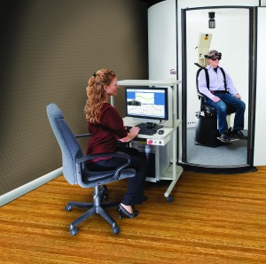 Figure 2. Auto-Traverse rotational chair with dark enclosure used for dynamic SVV testing (OVAR). Photo courtesy of Micromedical Technologies, Chatham, Ill.