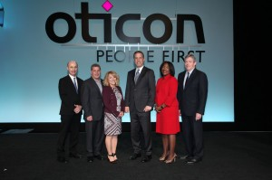 Presenters (l-r): Douglas L. Beck, AuD; Executive Director of Academic Sciences, Bill Taylor, Entrepreneur and Co-founder, Fast Company; Nancy Palmere, director of consumer marketing and PR; Oticon President Gary Rosenblum; Sheena Oliver, AuD, vice president of marketing; and Don Schum, PhD, vice president of Audiology. Not shown: Daniel Burrus, technology futurist and innovation and business strategist.