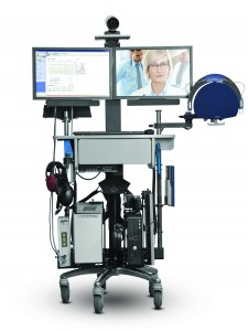 Figure 1. The teleaudiology cart with Otometrics equipment integrated with the OTOsuite software is a practical example of how integration enables clinicians to help patients in remote areas.
