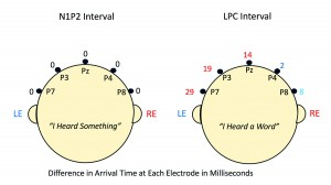 Figure 2. Difference in msec between arrival times of right- and left-ear AERP inputs at five parietal electrode sites viewed from behind the head. All numerals are arrival time differences only. They are not absolute transmission times. Here we follow the convention that earlier arrival by the right-ear input is designated by red numbers; earlier arrival by the left-ear input is designated by blue numbers. No difference in arrival time is designated by black zeros. In the case of the N1P2 interval (0-250 msec), there were no arrival-time differences. All five electrodes showed zero arrival differences. In the case of the LPC component, however, arrival-time difference systematically changed from favoring the left-ear input at electrodes P8 and P4 (right hemisphere) to favoring the right-ear input over electrodes Pz, P3, and P7 (left hemisphere). At electrode P7, over the left parietal electrode region, the right-ear input arrived at electrode P7 a full 29 msec before the left-ear input. Here is graphic illustration of the basis for the right-ear advantage so consistently revealed by behavioral dichotic testing.