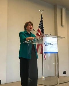 United States Senator Amy Klobuchar (D-MN) addressed attendees at the HIA annual meeting, March 19, 2018 at the W Hotel, Washington, DC.