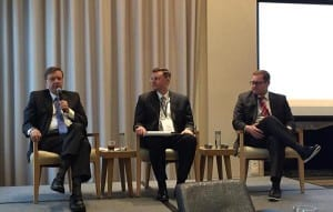 "Former Federal Trade Commission (FTC) chair Tim Muris answers a question during the HIA annual meeting panel titled, ""FTC Update and Looking Forward,"" March 20, 2018 at the W Hotel, Washington, DC. Pictured (l to r): Tim Muris, senior counsel, Sidley Austin and former chair, FTC 2001-2004; Chris Ondeck, partner, Proskauer; Chase Cannon, legislative counsel, American Optometric Association and executive director, Healthcare Alliance for Patient Safety."