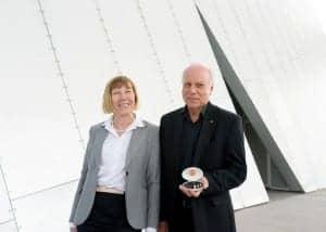Blamey Saunders Facett launch_Elaine Saunders & Peter Blamey holding Facett_photo by Heather Lighton