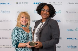 Oticon VP of Marketing Sheena Oliver, AuD, and Nancy Palmere, Director, Consumer Marketing & PR, accepted a Gold Stevie Award at the 2018 American Business Awards Gala, held June 11 in New York City.