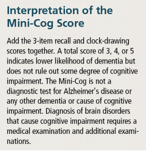 Table 4. How to interpret the Mini-Cog's scoring results.