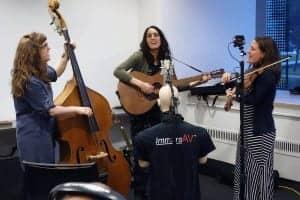 Glass Mountain performing from left: Ari Bolles, Sara Leginsky, and Heather Malyuk.