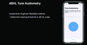 Figure 4. Screenshot from a recent Apple WWDC18 online video18 in which Apple software engineer Srinath Tupil Muralidharan explained how the company's ResearchKit for software developers uses the Hughson-Westlake pure-tone threshold method, as well as an assessment of the noise level in the test environment.