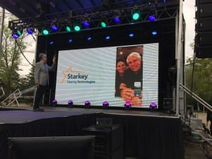 Bill and Tani Austin, who were on a Starkey Hearing Aid Foundation mission in Madagascar, joined the event via Skype to thank employees for their dedication and hard work in developing Livio AI.