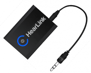 HearLink™ is a Bluetooth transmitter that connects to the standard analog audio output of most audio devices or television sets. It sends the audio signal directly to the paired BeHear® NOW headset.