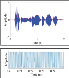 Figure 1. A 2-second wavefom of a sentence. The red outline is the temporal envelope of the sound. The temporal fine structure refers to the oscillations within the envelope of the sound of the same magnitude (ie, no variation in level). The fine structure has been magnified and shown on at the bottom.