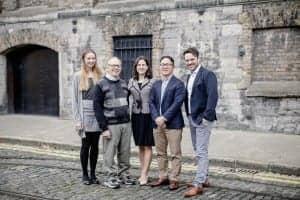 Neuromod Team, L-R: Emma Meade, clinical coordinator; Rich Tyler; Caroline Hamilton, clinical audiologist; Dr Hubert Lim CSO, Dr Ross O'Neill CEO.