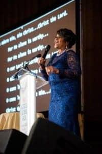 Gospel singer Pastor Shirley Caesar at the 2018 AG Bell Global Gala.