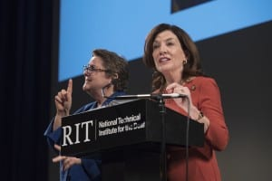 Caption: New York State Lt. Gov. Kathy Hochul, right, delivers her remarks during the rededication ceremony honoring 50 years of deaf education at NTID. Credit: Mark Benjamin/RIT