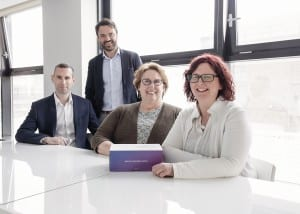 From left to right: Cathal Mc Fadden, Director of Operations; Ross O'Neill, CEO; Deborah Arthur, Head of Quality and Regulatory Affairs, Suzanne O'Rourke, Director of Quality and Regulatory Affairs.