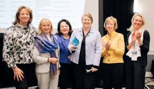 """Pictured left to right: Theo Schwabacher; Dr Nola Masterson; Una Ryan; Caitlin Cameron, chair and CEO of OtoNexus, winner of WCD's Launch Zone; Mary Jo Potter, and Bodil """"Bo"""" Arlander."""