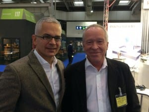 BVHI Chairman Dr Stefan Zimmer and former EHIMA Executive Director Søren Hougaard pause for a moment in the busy Expo hall during EUHA 2016.