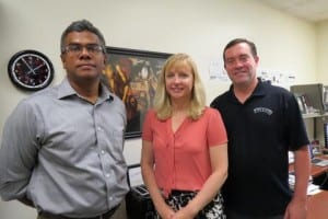 Iryna Ethell (center) is seen here with her collaborators, Khaleel Razak (left) and Devin Binder. (UCR/L. Bose)