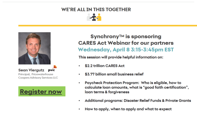 Synchrony Sponsors Free 'CARES Act' Webinar April 8